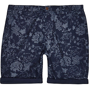 Blue indigo floral shorts