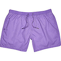 Purple drawstring swim shorts