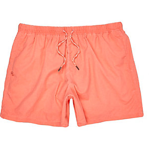 Orange drawstring swim trunks