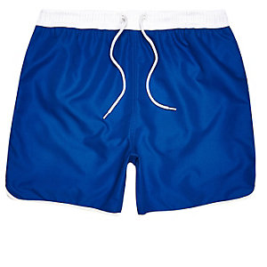 Blue drawstring swim trunks