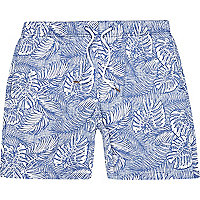 Blue Hawaiian print drawstring swim shorts