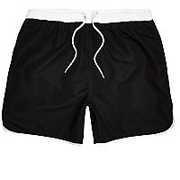 Black drawstring swim shorts