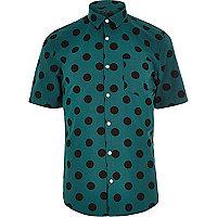 Green spot short sleeve shirt