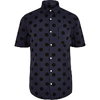 Blue spot short sleeve shirt