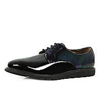 Black patent oily-look panel formal shoes