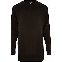 Black longer length crew neck sweatshirt
