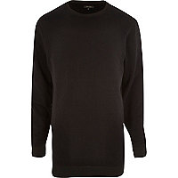 Black longer length zip trim sweatshirt