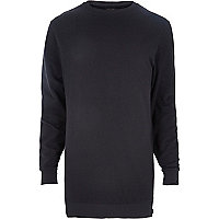 Dark grey longer length zip trim sweatshirt