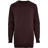 Dark red longer length zip trim sweatshirt