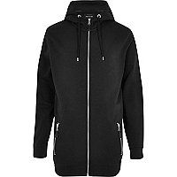 Black longer length zip through hoodie