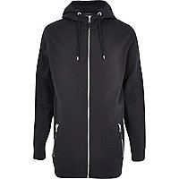 Grey marl longer length zip through hoodie