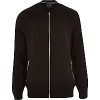 Black casual bomber jacket