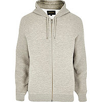 Light grey zip through quilted hoodie