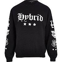 Black hybrid print sweatshirt