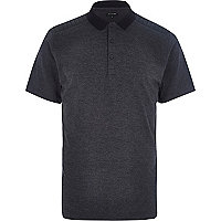 Dark grey leather-look panel polo shirt