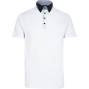 White contrast splice collar polo shirt