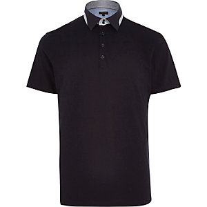 Navy contrast splice collar polo shirt