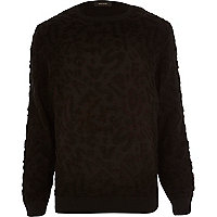 Black textured numeric jumper