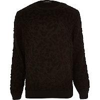 Black textured numeric jumper