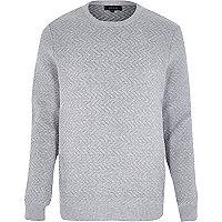 Grey quilted zig zag jumper
