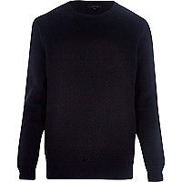 Navy quilted zig zag jumper