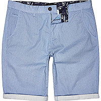 Light blue ditsy print chino shorts