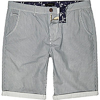 Ecru vertical stripe chino shorts