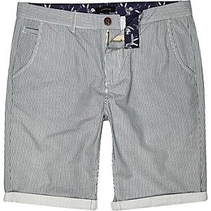 Ecru vertical stripe chino shorts