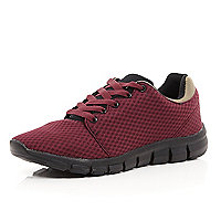 Dark red lace up trainers
