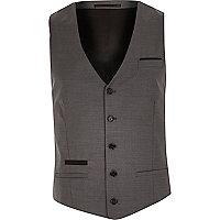 Grey wool-blend contrast vest