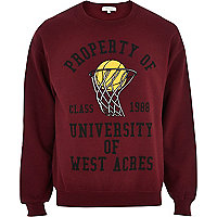 Red basketball varsity sweatshirt
