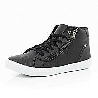 Black snake print zip hi-top trainers