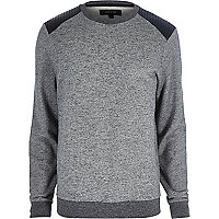 Dark grey leather-look panel sweatshirt