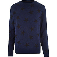 Blue star print sweatshirt