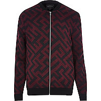 Black graphic print bomber jacket