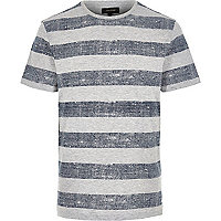 Grey basket weave striped t-shirt