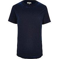 Blue curved hem burnout t-shirt