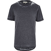 Grey curved hem burnout t-shirt