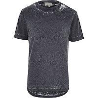 Grey curved hem burnout t-shirt
