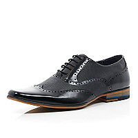Black leather panelled lace up formal shoes