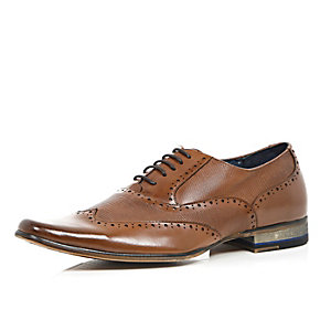 Brown leather panelled lace up formal shoes