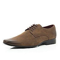 Brown matte finish lace up shoes