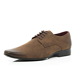Brown matte formal lace up shoes