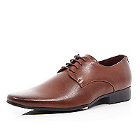 Brown laser stripe formal shoes