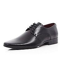 Black laser stripe formal shoes