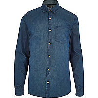 Blue denim long sleeve shirt