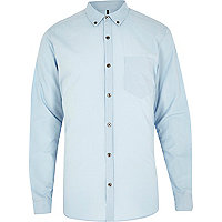 Blue tailored long sleeve shirt