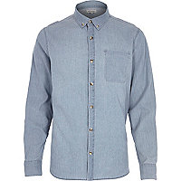 Blue bleach printed denim long sleeve shirt