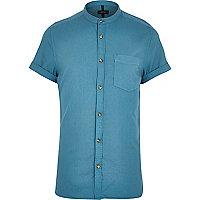 Green grandad collar Oxford shirt