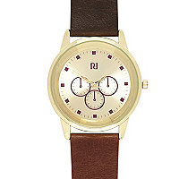 Brown classic gold tone watch